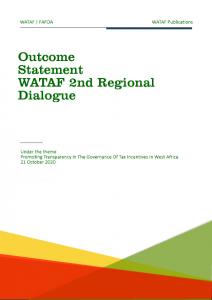 Outcome statement WATAF 2nd regional dialogue