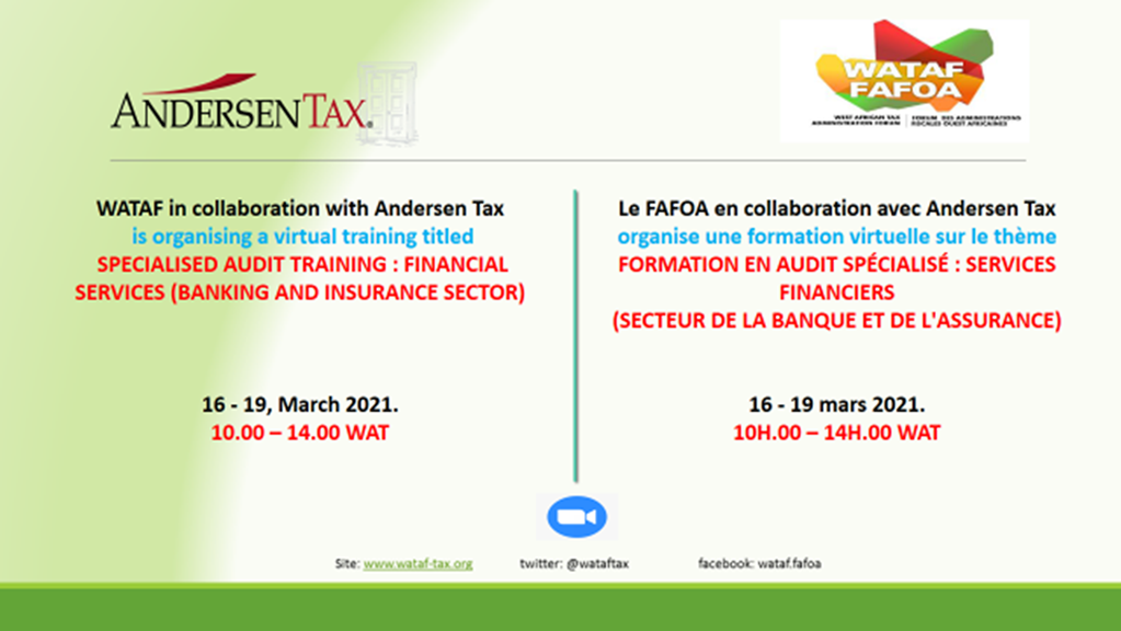 FORMATION EN AUDIT SPÉCIALISÉ : SERVICES FINANCIERS (SECTEUR DE LA BANQUE ET DE L'ASSURANCE) 16 au 19 mars 2021.
